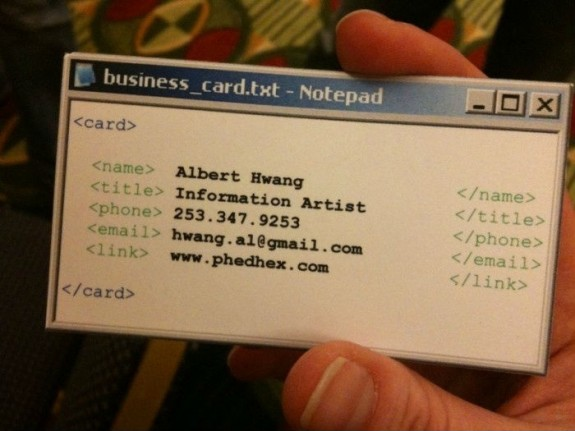Awesome geek business card idea