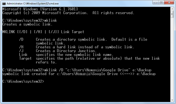 Making Symbolic link on Windows 7