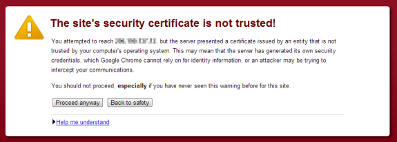 WHM cPanel certificate not trusted - The security certificate presented by this website was not issued by a trusted certificate authority. Security certificate problems may indicate an attempt to fool you or intercept any data you send to the server