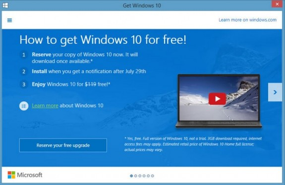 Windows 10 Free Upgrade App GWX