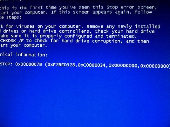 0x0000007b blue screen BSOD